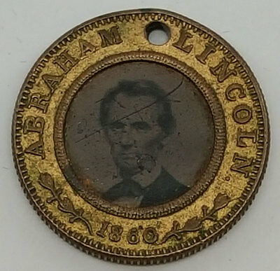"""1860 Abraham """"Abe"""" Lincoln Campaign Ferrotype Button"""