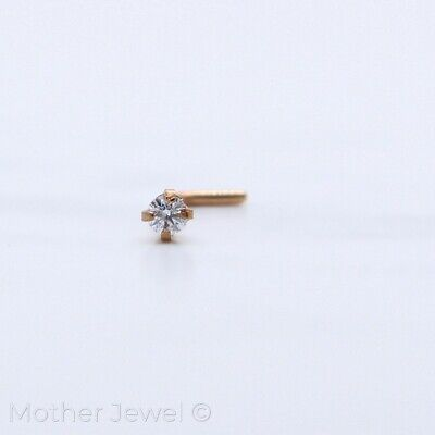 20G 14K Rose Gold Ip 2Mm Simulated Diamond L Shaped Bent Bend Unisex Nose Stud
