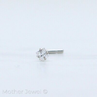 20G Real 925 Sterling Silver Square Simulated Diamond L Shaped Bent Nose Stud