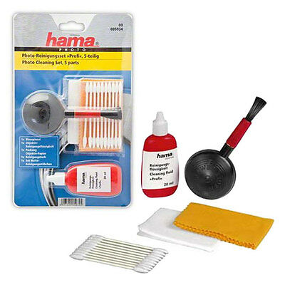 Hama 5 Pc Lens and Camera Cleaning Kit Inc Blower Brush Lens Fluid, Tissues etc.