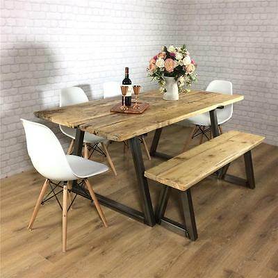 Industrial Dining Table Rustic solid antique Kitchen farmhouse Vintage Reclaimed