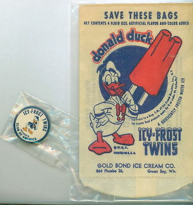 Rare Icy Frost Twins Club Pin with one of the Popsicle Wrappers from Icy Frost