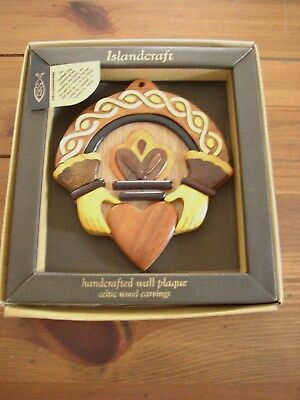 The Claddagh Ring handcrafted wooden Wall Plaque, boxed