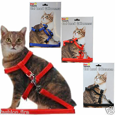 New Pet Touch Cat Lead & Harness Set Black Blue Red Lead & Harness Set For Cat