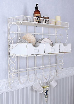 Wall Board White Wall Shelf Shabby Chic Towel Holder Wall Cabinet Iron • £77.38