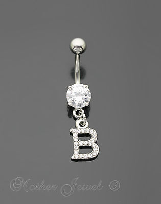 Letter B Alphabet Cz Dangle 316L Surgical Steel Navel Belly Curved Bar Ring