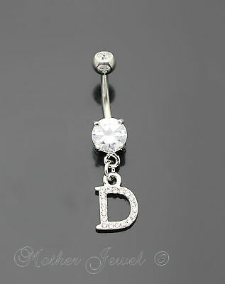 Letter D Alphabet Cz Dangle 316L Surgical Steel Navel Belly Curved Bar Ring