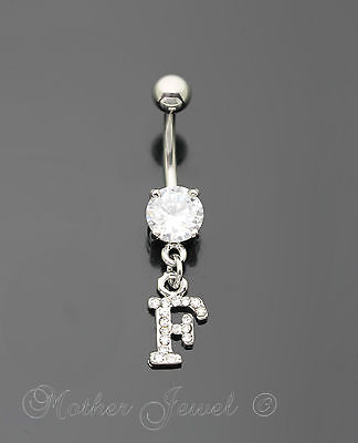 Letter F Alphabet Cz Dangle 316L Surgical Steel Navel Belly Curved Bar Ring