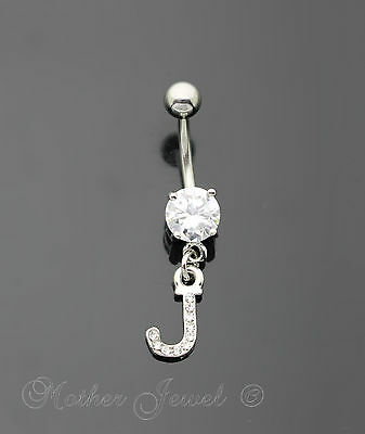 Letter J Alphabet Cz Dangle 316L Surgical Steel Navel Belly Curved Bar Ring