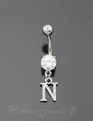 Letter N Alphabet Cz Dangle 316L Surgical Steel Navel Belly Curved Bar Ring