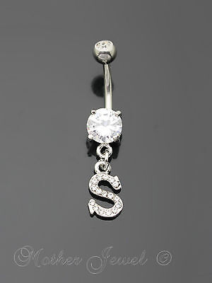 Letter S Alphabet Cz Dangle 316L Surgical Steel Navel Belly Curved Bar Ring