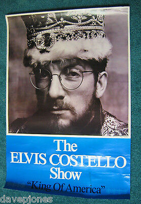 """THE ELVIS COSTELLO SHOW """"King Of America"""" 1986 USA CBS Poster 23"""" x 34"""" Promo"""
