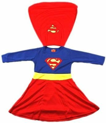 NEW Size 2~12 KIDS DRESS UP COSTUME SUPERHERO PARTY OUTFITS GIRLS TOP SUPERGIRL