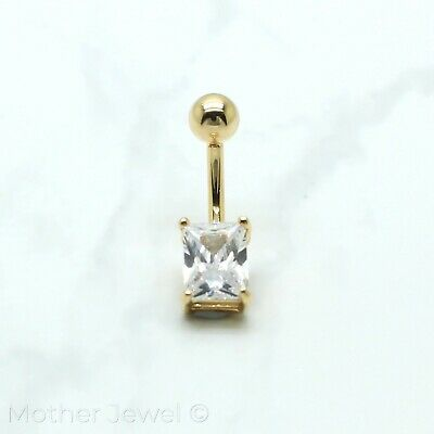 14K Yellow Gold Triple Plate Rectangle Simulated Diamond Belly Button Navel Ring