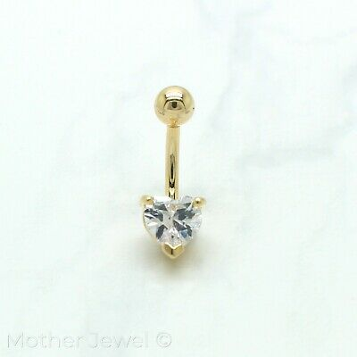 14K Yellow Gold Triple Plate 7Mm Heart Simulated Diamond Belly Button Navel Ring