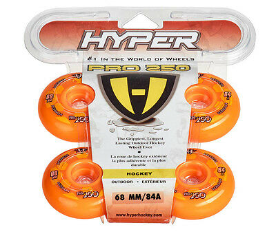 Hyper Outdoor-Rollen für Inlineskates Pro 250, Orange 72500, 84A. 80mm. Freizeit