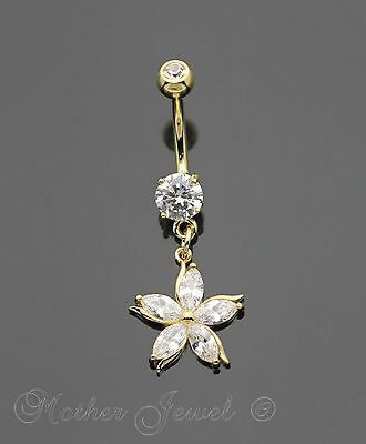 14K Yellow Gold Triple Plated Daisy Flower Simulated Diamond Belly Navel Ring
