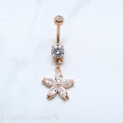 14K Rose Gold Triple Plated Daisy Flower Simulated Diamond Belly Navel Ring