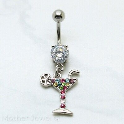 Silver Surgical Steel Martini Cocktail Simulated Diamond Belly Navel Ring