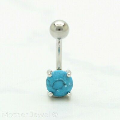 7Mm Round Aqua Turquoise Silver Surgical Steel Belly Button Navel Ring