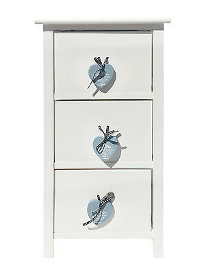 Assembled White Heart 3 Chest of Draws Kids Bedroom Bedside Table Cabinet