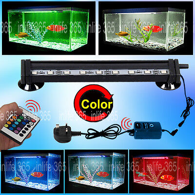 RGB Remote Color Changing LED Fish Tank Light Submersible Air Curtain Aquarium