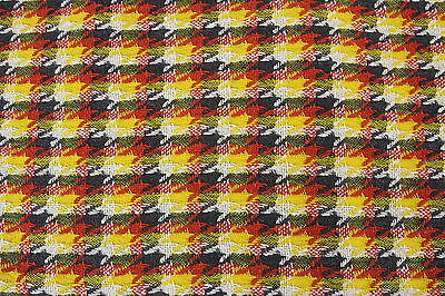 "Wool Woven Plaid Vintage Fabric 3 Yds x 60"" W Yellow White Coral Gray Material"