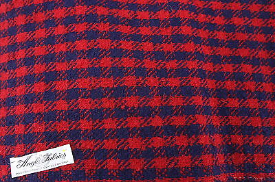 """Anglo Fabrics Vintage Boucle Wool Red & Blue Fabric 2 1/6 Yds x 60"""" W Material"""