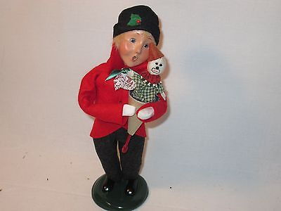 Byers Choice Magnificent 2005 Blond boy with Push Up Clown Puppet Toy New