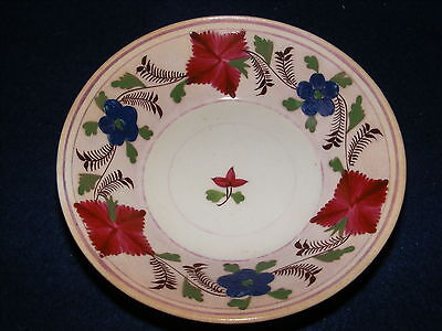 ANTIQUE 20th C HAND PAINTED BOWL DISH FLOWERS PORCELAIN CHINA