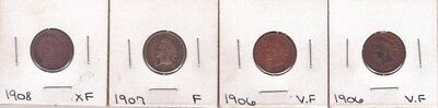 ( 4 ) Indian Head 1c Nice 1906-1907-1908 V.F./XF Bold Liberty Bands L@@K