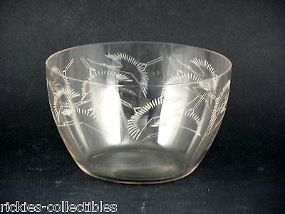 Vintage Crystal Bowl with Flying Birds - signed R Lalique, France