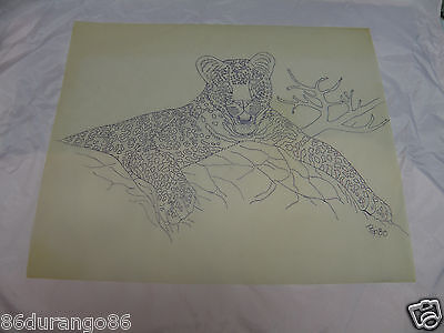 "Wood Carving Pattern 17""X14"" Chip Relief Burning Leopard"