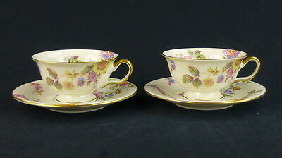 Sunnybrooke Castleton China Set Of 2 Cup and Saucer Set Footed Multifloral Cream