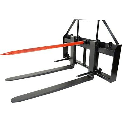 "Titan 48"" Skid Steer Pallet Fork Attachment w/49"" Bale Spear & 2 Stabilizers"