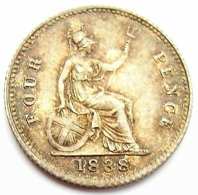 Victoria Four Pence 1838 Last 8 over sideways 8  Victoria Groat gEF