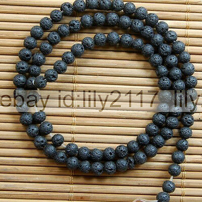 "Natural Black Lava Beads Jewelry Making loose gemstone beads strand 15"" AAA"