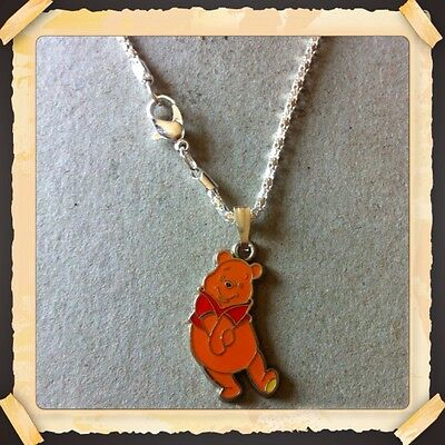 "Winnie The Pooh ENAMEL CHARM WITH 16.5"" SILVER PLATED SNAKE CHAIN/NEW"