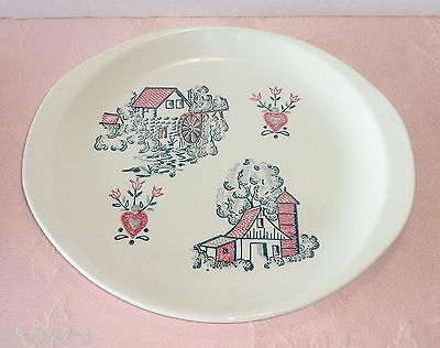Vintage Marcrest MCR5 Red Barn Round Serving Platter Plate Farm Scenes Stetson