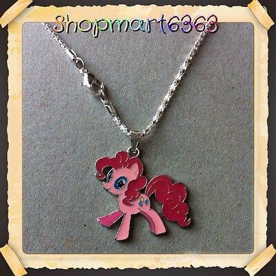 "My Little Pony Metal Charm With 16.5""silver Plated  Snake Style Necklace/new #2"