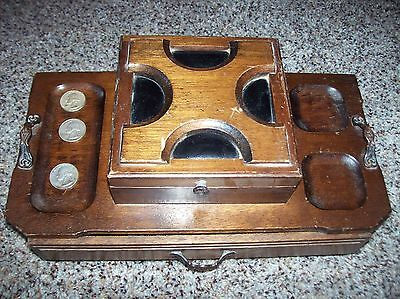 Vintage Mens desk Jewelry Box Valet Wood one drawer top compartment silver coins