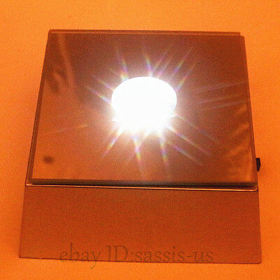 2.6Inch Unique Square Crystal Display Base Portable Stand 4 LED White Light Bulb