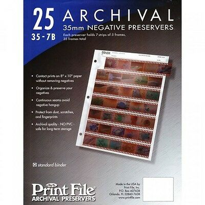 Print FIle 357B25 for 35mm Film Negatives 7 Strips 25 Pack, New, Free Shipping