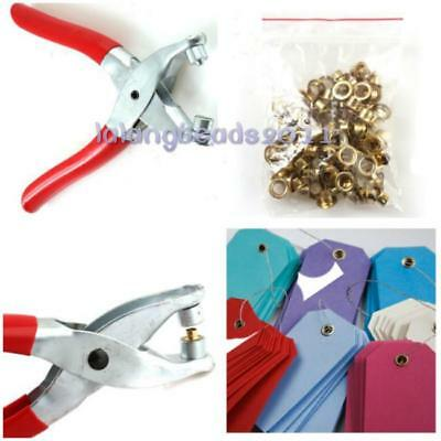 Eyelet Pliers Tool Kit 50 Brass Eyelets-Hole Maker Punch Leather Craft Shoes LA
