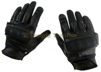 CONDOR L BLACK Police SWAT Tactical Kevlar Leather Padded Knuckle Gloves Large