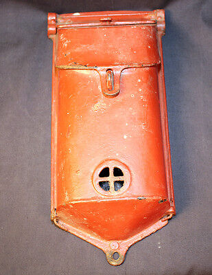 Antique Cast Iron Mailbox Locking With Mailman Access Door Red Paint