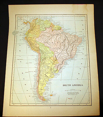 Antique 1898 Map South America OR Maine
