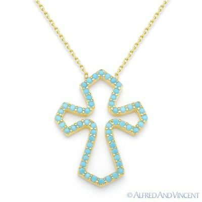 Nano CZ Crystal Medieval Cross Pendant & Chain Necklace in .925 Sterling Silver