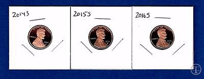 2014 S 2015 S AND 2016 S Lincoln Cents Penny-Gem Proof-THREE Proof Pennies