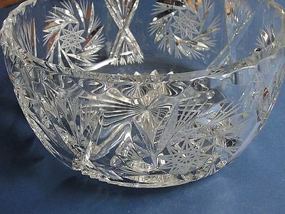 "9"" Cut Crystal Fruit-Salad Bowl Almost Straight Sides Big Flat Bottom  6 Lbs!!"